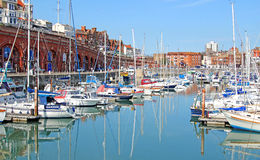 Yachts At Ramsgate Mariner. This photo shows yachts and boats in Ramsgate mariner. This photo could be used to highlight the resort and yachting enthusiasts Royalty Free Stock Photos