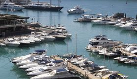 Yachts and recretional watercrafts in Port Adriano. Yachts and recretional watercrafts at dock in Port Adriano south coast of the spanish island of mallorca Royalty Free Stock Photos
