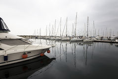Yachts reflection in a row Royalty Free Stock Photo