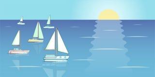 Yachts regatta banner horizontal, cartoon style Stock Photography