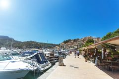 Yachts and restaurants of small town by the sea on Mallorca island royalty free stock image