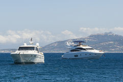 Yachts in Revellata bay Corsica Royalty Free Stock Photography
