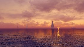Yachts on the rising sun background Stock Photography