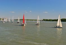 Yachts in the river Stock Photography