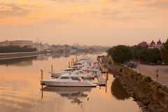 Yachts in river Stock Photo