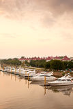 Yachts in river bank Stock Photography