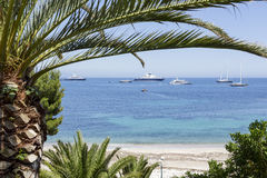Yachts at roadstead of Saint Jean Cap Ferrat Stock Image
