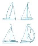 Yachts símbolos ilustração stock