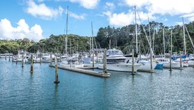 Yachts, sail bots and motor launches at Tutukaka Marina in North Royalty Free Stock Image