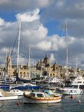 Ships anchored at port of Valletta. Yachts and sailboats anchored at the harbor in Valletta, Malta stock photo