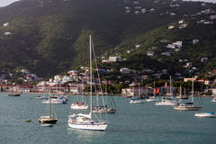 Yachts and Sailboats by Green Hills of St Thomas Royalty Free Stock Photo