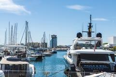 Yachts and sailboats in the marina of Barcelona Stock Photography