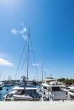 Yachts and sailboats in the marina of Barcelona Stock Photo