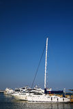 Yachts and sailboats moored in marina. stock photo