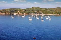 Yachts and sailboats at sea Parga Stock Image