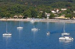 Yachts and sailboats at sea Valtos beach Parga Stock Images