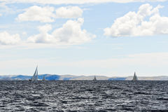 Yachts sailing in adriatic sea in windy weather Royalty Free Stock Photos