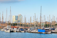 Yachts and sailing boats are moored in Barcelona, Spain Stock Photo