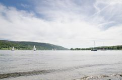 Yachts sailing on Coniston Water. In the English Lake District stock image