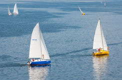 Yachts in the sailing race on the Dnepr river Stock Image