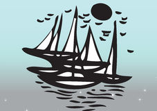 Yachts sailing in sea. Illustration of black yachts sailing in sea with gradient blue background Stock Photography