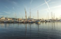 Yachts in Saint-Tropez bay. At sunset royalty free stock image