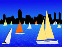 Yachts and San Diego. Yachts sailing and San Diego skyline illustration Royalty Free Stock Images