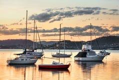 Yachts at Saratoga NSW Australia. Closeup of yachts moored at Saratoga Central Coast Australia Stock Images