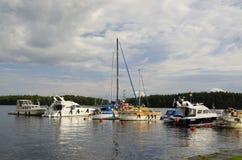 Yachts at Savonlinna marina Royalty Free Stock Photography
