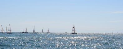 Yachts in the sea. Summer sunny Stock Photos