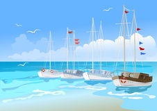Yachts at sea Stock Image