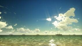 Yachts and Seagulls at Sunrise with Time Lapse Clouds stock video footage