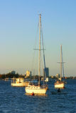 Yachts In The Setting Sun Stock Photo