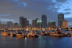 Yachts at Sharjah Creek. At dusk. United Arab Emirates Royalty Free Stock Image
