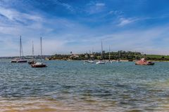 Yachts ships in the bay of the river Alvor. Stock Images