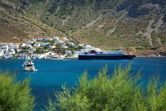 Yachts and ships in Kamares village in Greece Stock Image