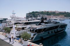 Yachts and ships in the port of Monaco in summer solar Europe stock photography
