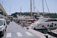 Yachts and ships in the port of Monaco in summer solar Europe royalty free stock images