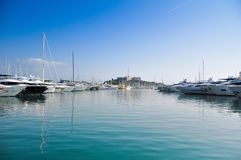 Fort Carre and port of Antibes. royalty free stock photography