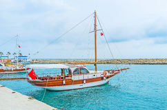 The yachts in Side port Royalty Free Stock Photography