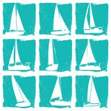 Yachts silhouettes icon set Stock Photos