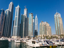 Yachts and skyscrapers in Dubai Marina District Royalty Free Stock Image