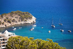 Yachts in spain bay Royalty Free Stock Images