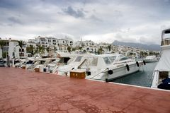 Yachts at Spanish marina Stock Photo
