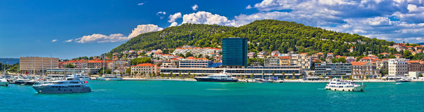 Yachts in Split waterfront panoramic view Royalty Free Stock Photos