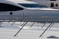 Yachts in St Tropez. Yachts at the harbor in St Tropez; a view over the decks Royalty Free Stock Image