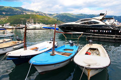 Yachts stand in Budva Royalty Free Stock Image