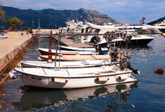 Yachts stand in Budva Stock Image