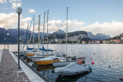 Yachts stand in lake Royalty Free Stock Images