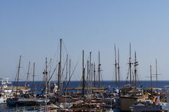 Yachts stands moored in marina Stock Images